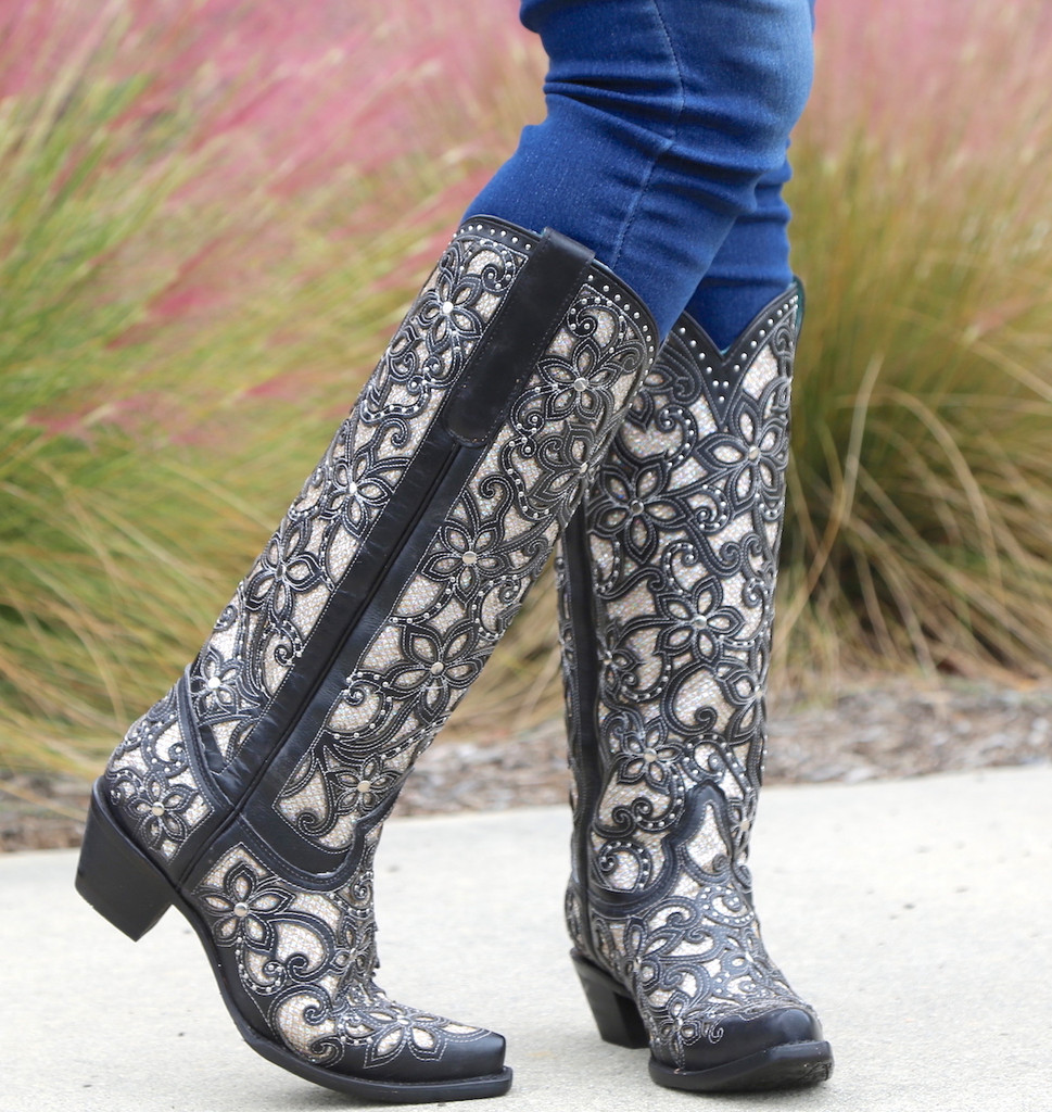 Corral Black Full Inlay and Studs Tall Top Boots A3590 Toe