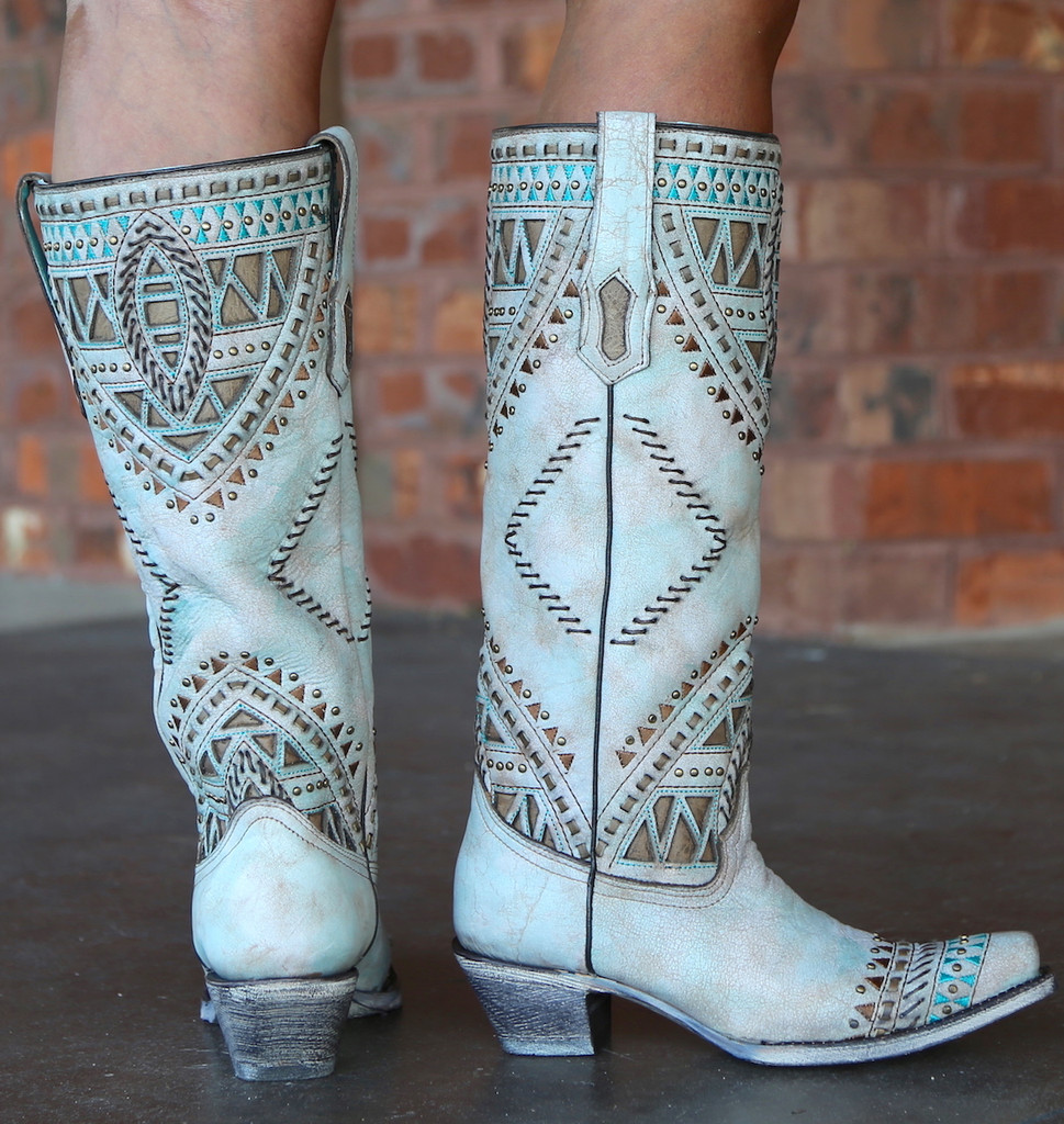 Corral Turquoise Inlay Harness Studs Tall Top Boots A3595 Heel