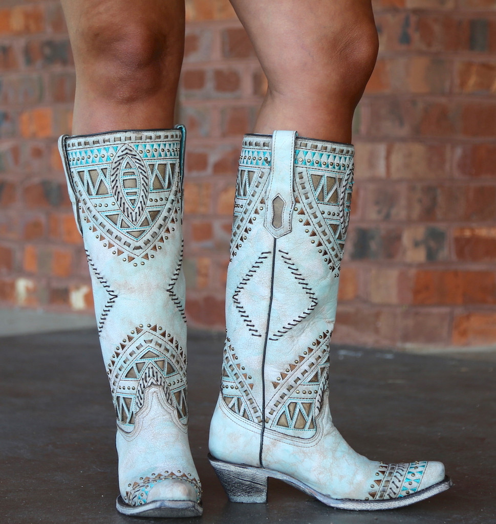Corral Turquoise Inlay Harness Studs Tall Top Boots A3595 Photo