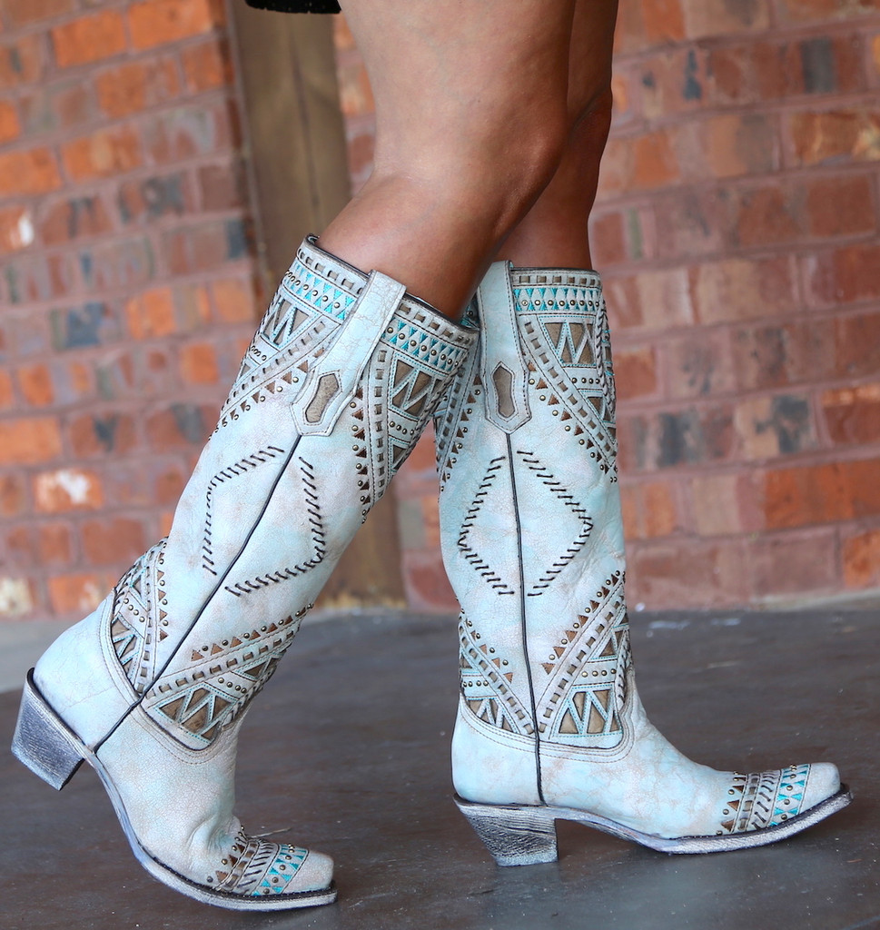 Corral Turquoise Inlay Harness Studs Tall Top Boots A3595 Walk