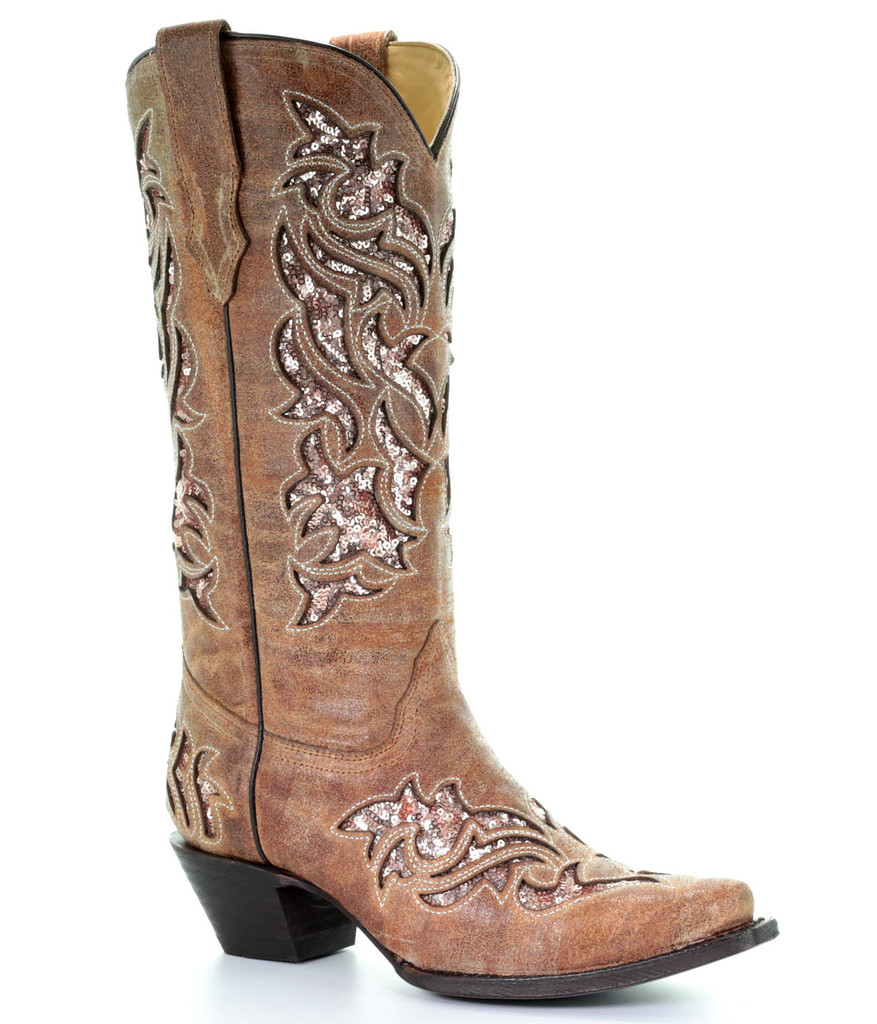 Corral Cognac Glitter Inlay and Embroidery Boots A3578 Picture