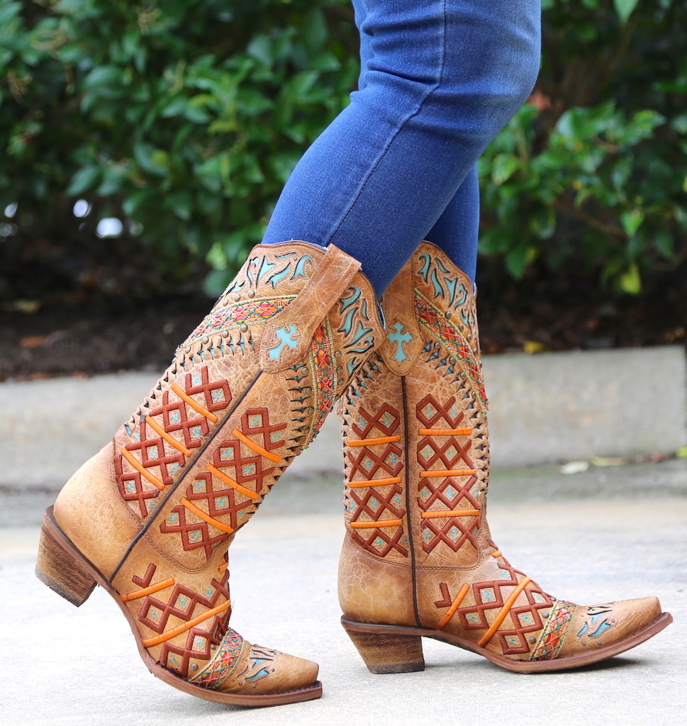 Corral Straw Inlay Embroidery Studs Boots C3284 Live