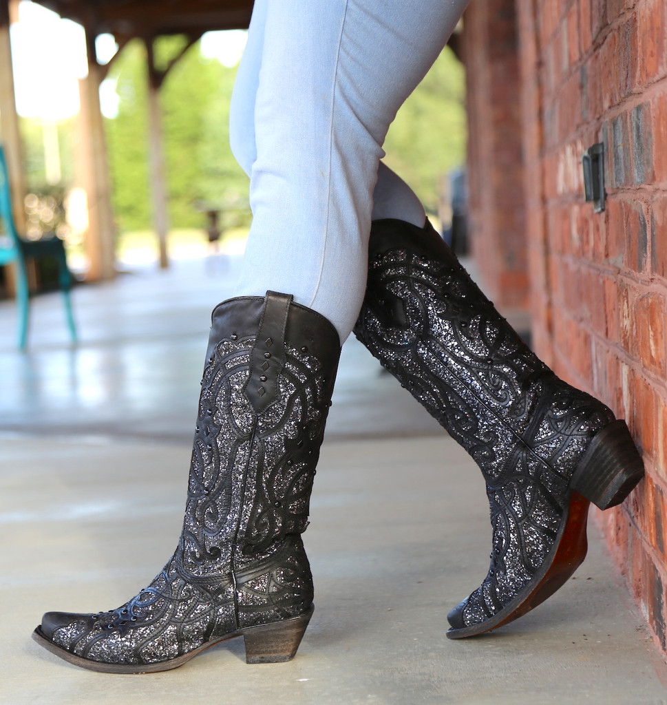 Corral Black Glitter Inlay and Studs Snip Toe Boots C3423 Image
