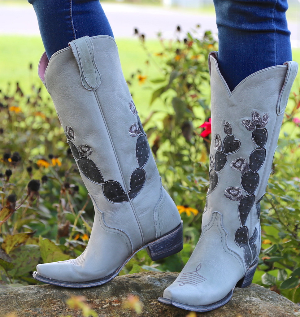 Junk Gypsy by Lane Hard To Handle Grey Cactus Boots JG0012D Design