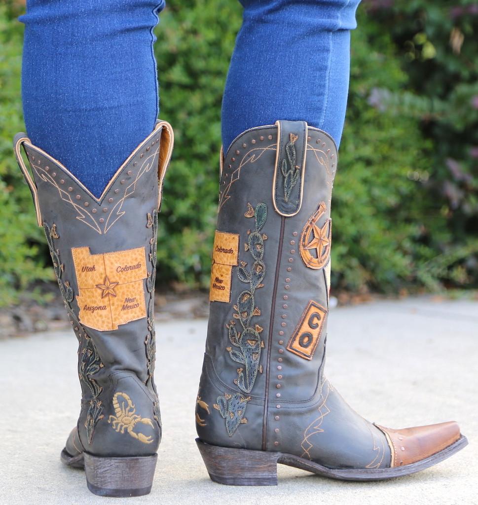 Old Gringo Route 66 Black Boots L3056-1 Heel