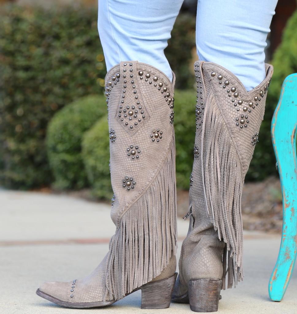 Old Gringo Savannah Tall Grey Boots L3089-2 Heel