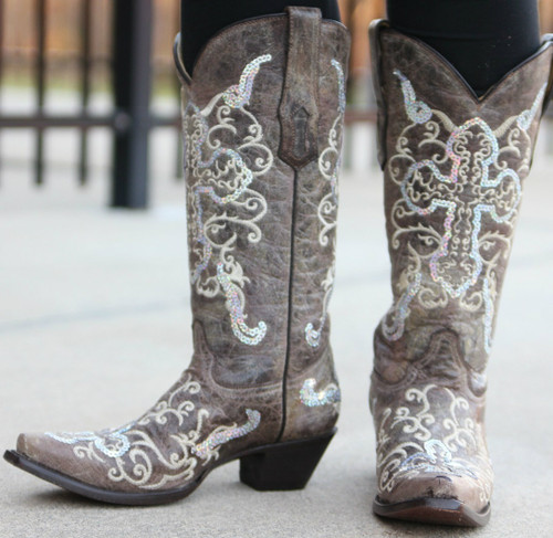 Corral Tobacco Silver Cross Boots A1187 Picture