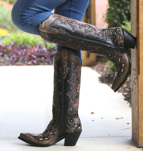 Corral Black/Brown Tall Inlay and Studs Boots G1069 Photo