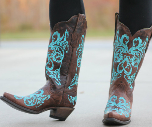Corral Brown/Turquoise Dahlia Embroidery R1193