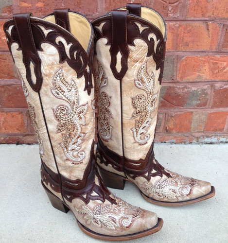 Corral Crackle Bone Tan Studs Boots C2825
