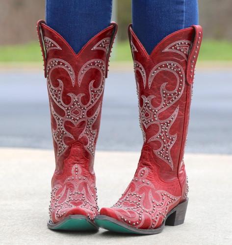 Lane Lovesick Stud Red Boots LB0199C Front
