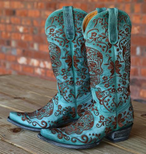 Old Gringo Klak Turquoise/Brown Boots L1300-8 Picture