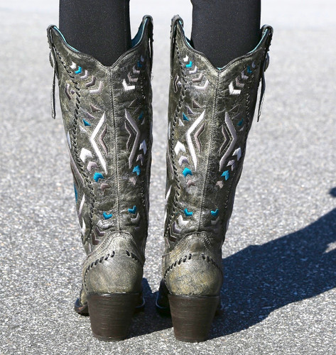 Corral Metallic Silver Multicolor Ethnic Pattern and Whip Stitch Boots C2883