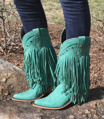 Liberty Black Vegas Fringe Boots Turquoise LB71124 Picture