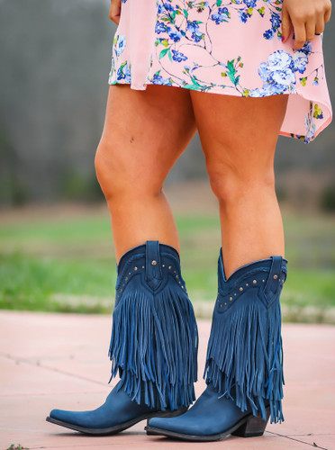 Liberty Black Vegas Fringe Boots Russian Blue LB71124 Picture