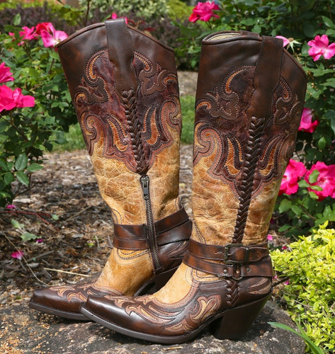 Corral Antique Saddle Cognac Brown Harness and Studs Boots G1229 Picture
