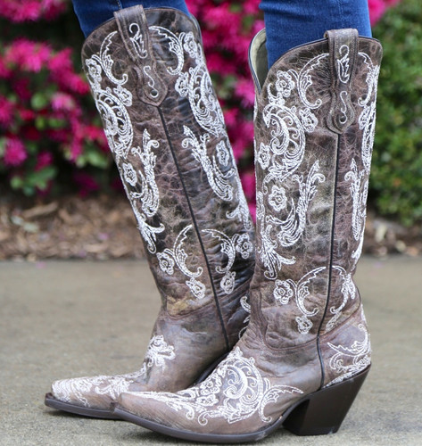 Corral Brown White Full Stitch and Studs Boots G1027 Picture