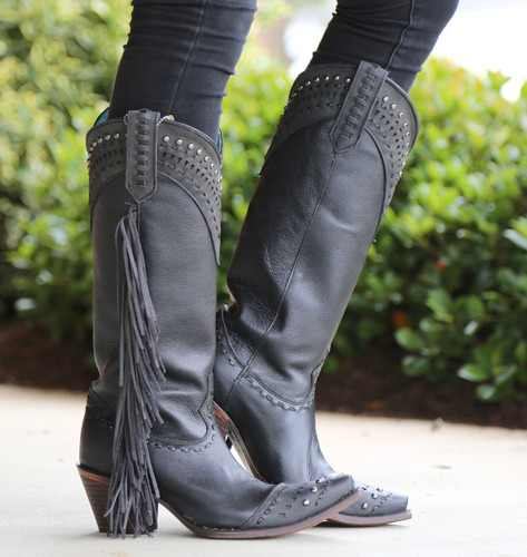 Corral Black Side Fringe and Studs Boots C2973 Picture
