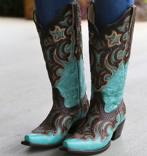Corral Turquoise Chocolate Inlay and Studs Boots G1184 Picture