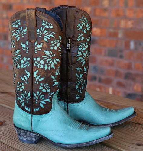 "Old Gringo Mary Lou Zipper 13"" Aqua Brass Boots L2101-1 Picture"