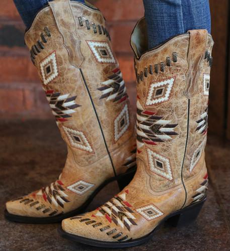 Corral Antique Saddle Aztec Pattern E1010 Side Image