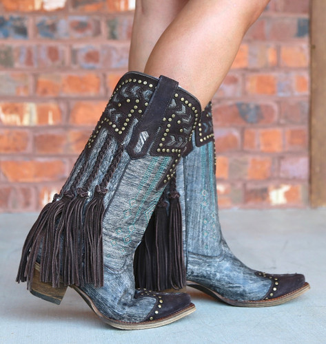 Corral Chocolate Back Braiding and Fringe Boots A3127 Picture