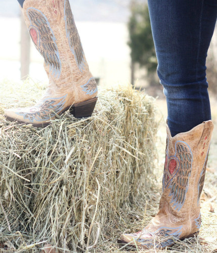 Corral Boots Antique Saddle Blue Jean Wing And Heart