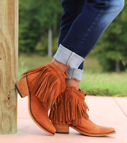 Liberty Black Short Fringe Boots Papaya LB71129