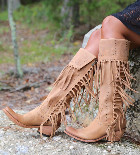 Liberty Black Tall Fringe Zipper Boot LB71167 America Tan