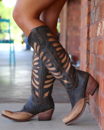 Liberty Black Tall Vintage Cafe Boots LB711510 Picture