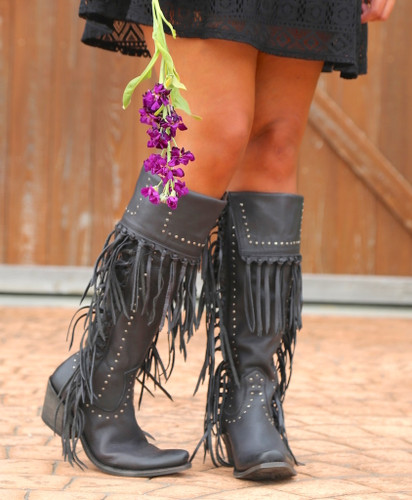 Liberty Black Tall Fringe Zipper Boot LB71167 Negro