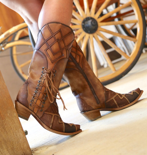 Corral Honey Lizard Laser Overlay and Lace Boots C3189 Picture