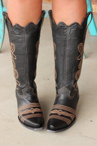 Corral Black Embroidery Tall Top Boot G1392