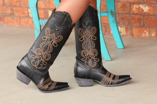 Corral Black Embroidery Tall Top Boot G1392 Side Picture