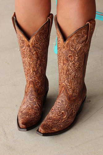 Corral Brown Tooled Boot G1386 Main Image