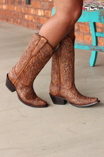 Corral Brown Tooled Boot G1386 Side Image