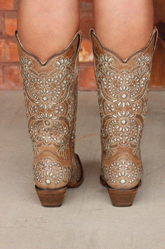 Corral Brown Glitter Inlay and Embroidery Boot A3352 Back Image