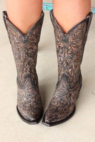 Corral Black Tooled Boot G1385 Main Picture