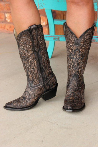 Corral Black Tooled Boot G1385 Front Picture