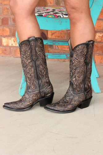 Corral Black Tooled Boot G1385 Side Picture