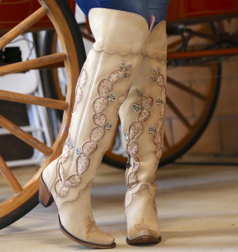 Junk Gypsy by Lane Cactus Knee High in Tonal Cream Boots JG0041C Toe