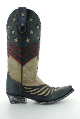 Old Gringo United Bone Blue Red Boots L2923-3 Side