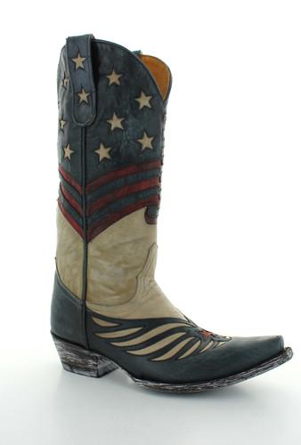 Old Gringo United Bone Blue Red Boots L2923-3 Front