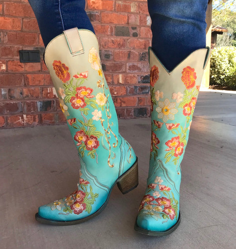 Corral Turquoise Orange Floral Embroidery Boots C3304 Picture