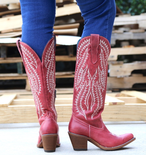 Corral Red Embroidery Tall Top Boots E1318 Heel