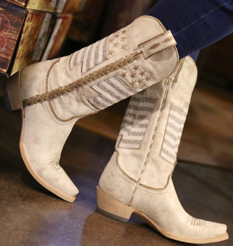 Old Gringo Eleanor Taupe Beaded Flag Boots L2961-2 Photo