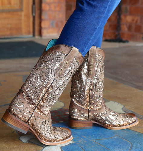 Corral Orix Glittered Inlay and Studs Square Toe Boots C3275 Image