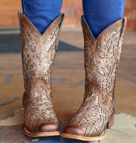 Corral Orix Glittered Inlay and Studs Square Toe Boots C3275 Toe