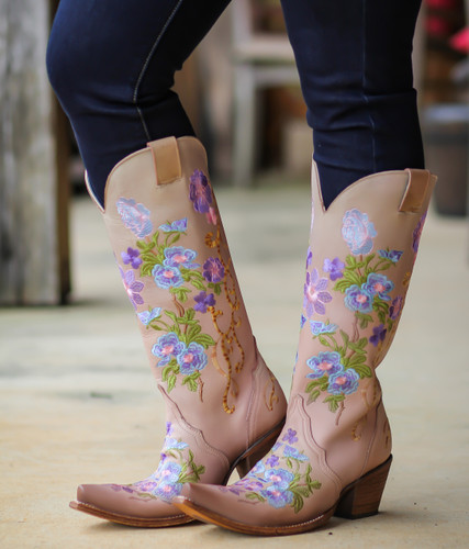 Corral Pink Purple Floral Embroidery Boots C3305 Picture