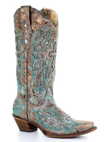 Corral Metallic Turquoise Wings and Cross Inlay A3398 Picture
